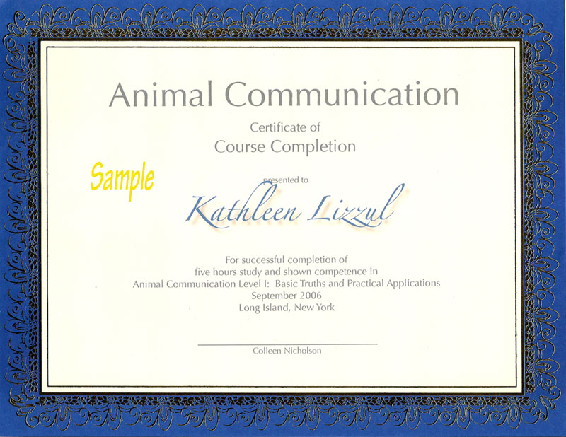 Animal wellness consultants animal communicator colleen nicholson a certificate of completion of animal communicaton level i yelopaper Images